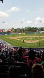 Picture of the baseball field  during the Fightin Phils versus Flying Squirrels game