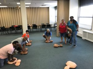 CPR instruction after June 2019 NFB of Pennsylvania Greater Philadelphia Chapter meeting