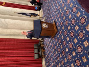 Senator Bob Casey speaking during the Congressional reception at the 2020 NFB Washington Seminar